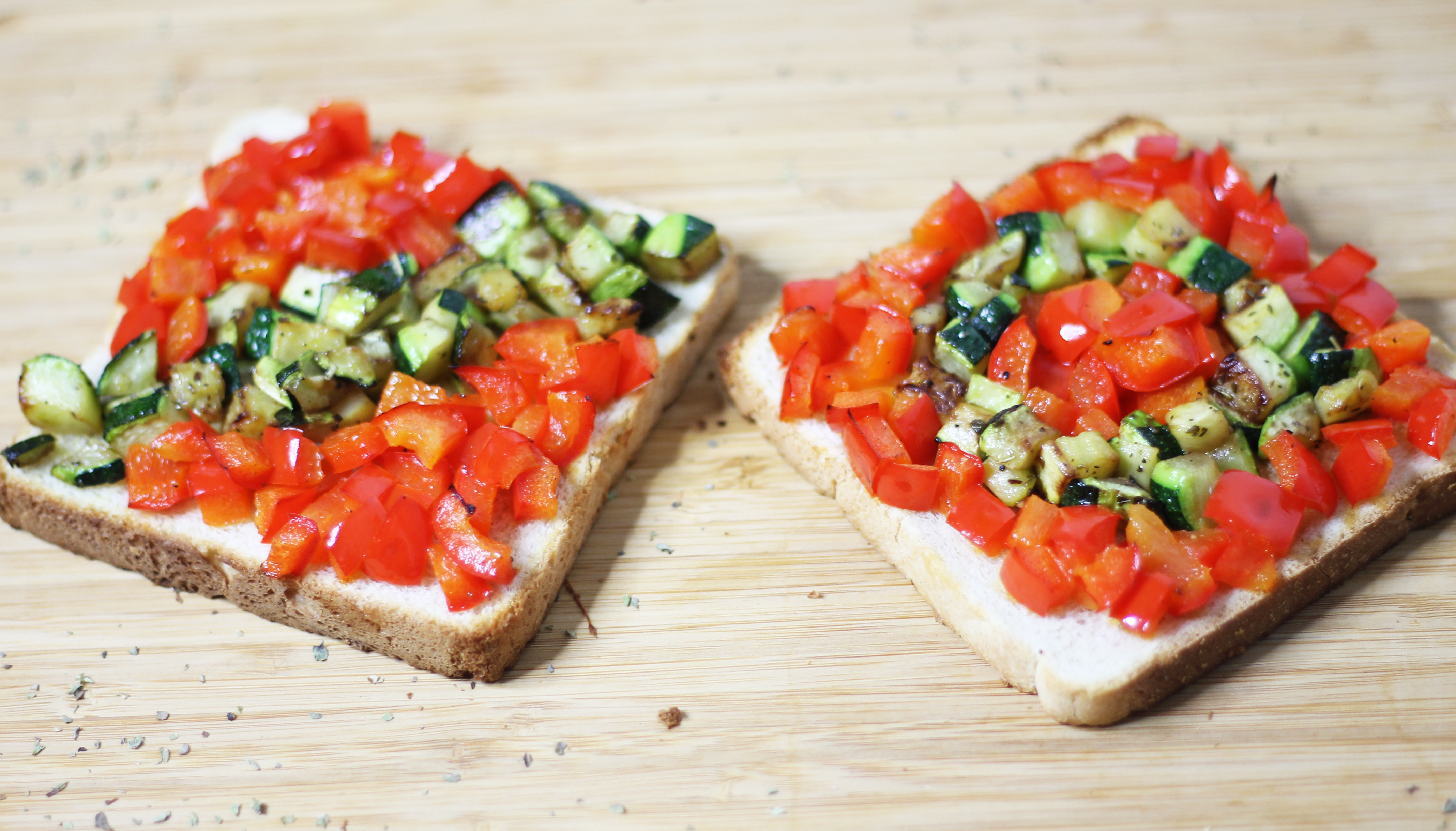 Tartines poivrons / courgettes